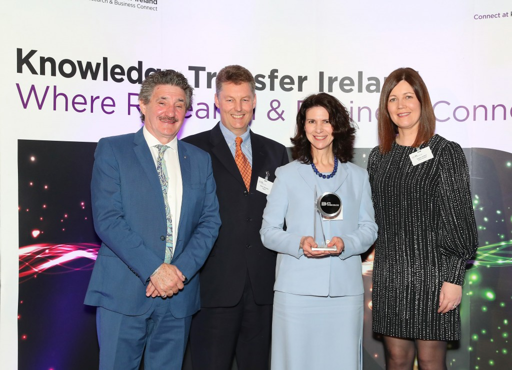 Pictured receiving the KTI Impact Award for Iconic are: John Halligan TD, Minister of State for Training, Skills, Innovation, Research and Development (left), Dr. Páraic Sheridan, Co-Founder, Iconic, Dana Sheridan, Marketing Associate, Iconic, Emma O'Neil, Business Development Manager, Life Sciences DCU Invent
