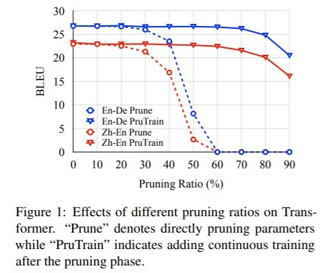 Effects of pruning ratios on Transformer